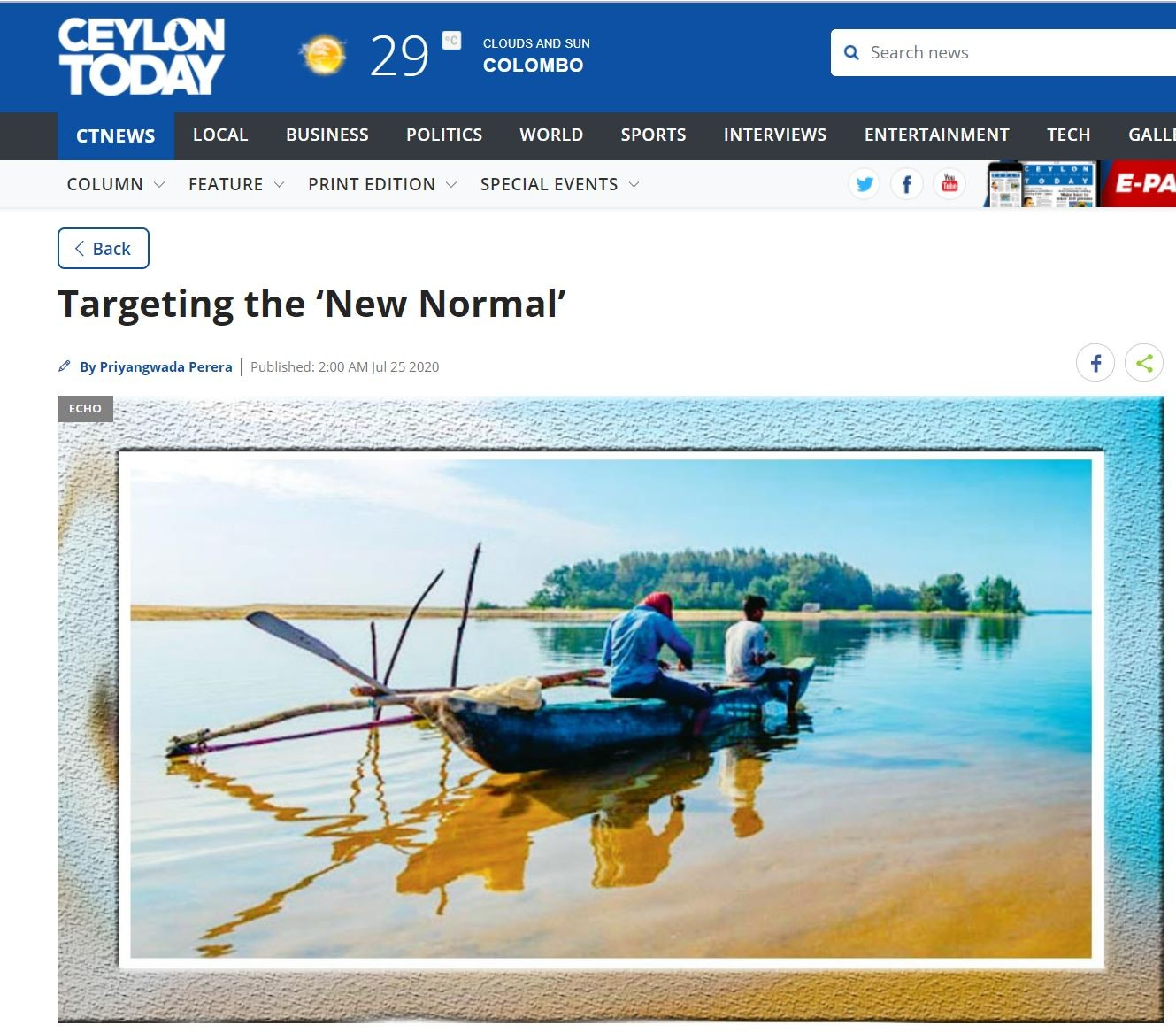 Targeting the 'New Normal' (Ceylon Today)